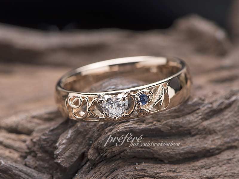 婚約指輪はハートのダイヤとお誕生石を入れてオーダーメイド