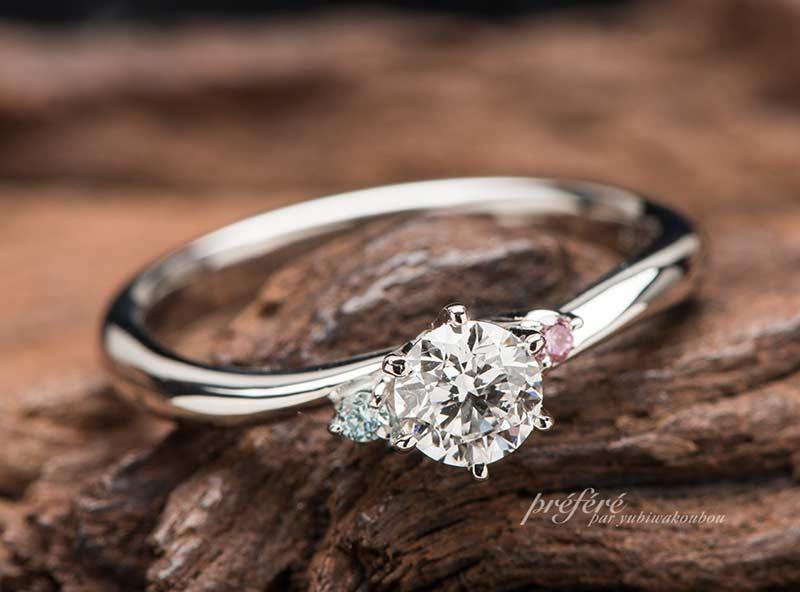 結婚指輪と婚約指輪のカラーを合わせたオーダーメイド