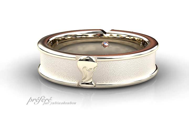 結婚指輪はウサギモチーフにカラーダイヤを入れたオーダーメイド