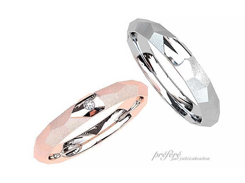 リング内側に桜を入れた結婚指輪のオーダーメイド
