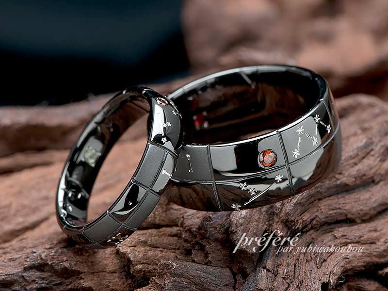 ブラックリングの結婚指輪はオーダーでプラネタリウムをイメージ