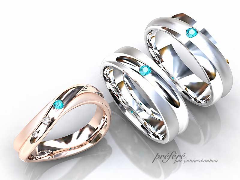 結婚指輪はオーダーメイドでプラチナとピンクゴールド素材