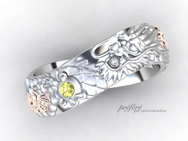 龍モチーフでお創り頂きました結婚指輪のオーダーメイド