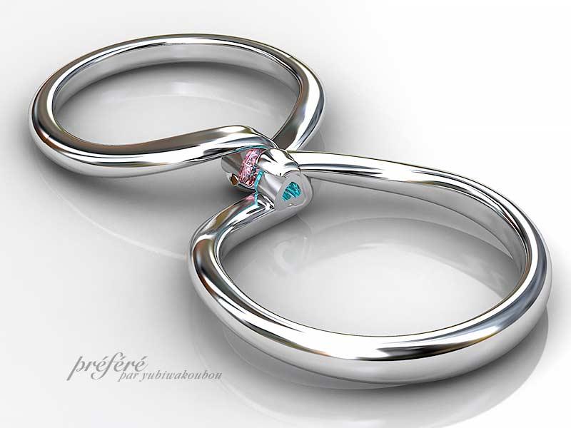 結婚指輪はオーダーメイドで人気のハートダイヤを入れました