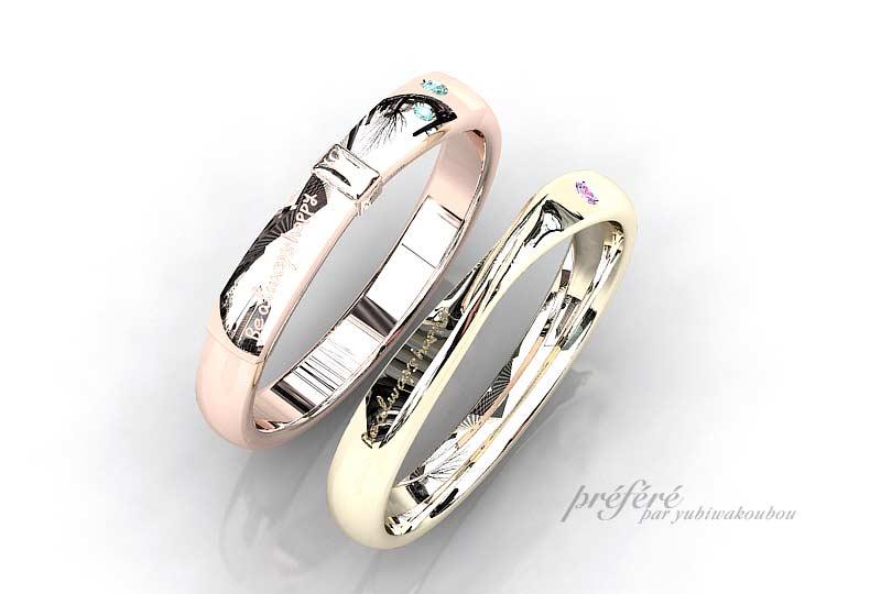 ピンクゴールドとシャンパンゴールドの結婚指輪はリボンデザインでオーダー