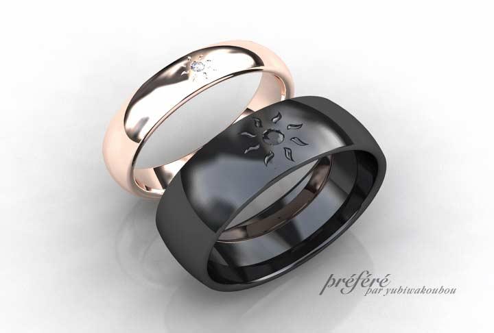 ブラックとピンクゴールドの結婚指輪は太陽モチーフでオーダー