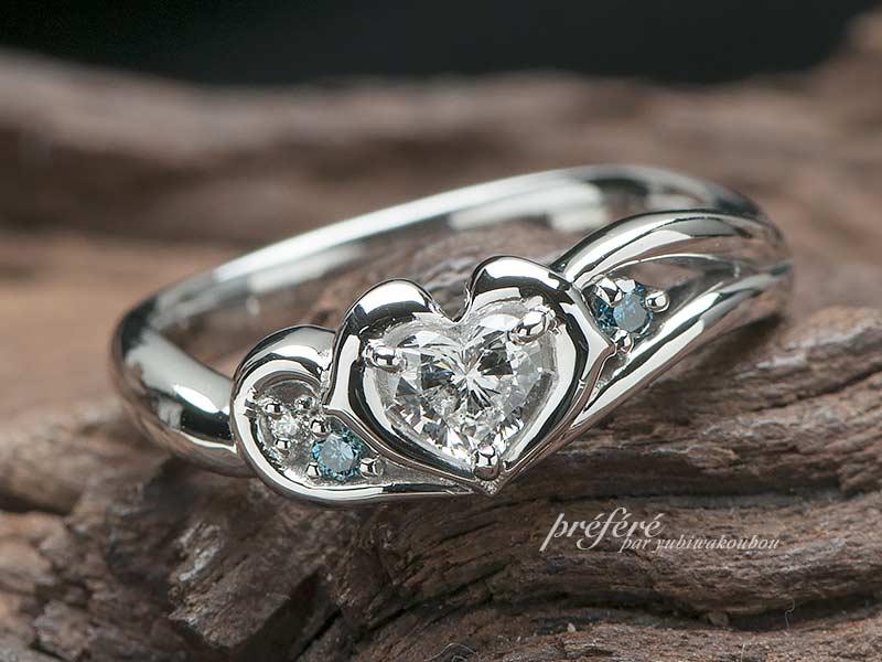 イルカの婚約指輪にセットする波をデザインした結婚指輪をオーダーメイド