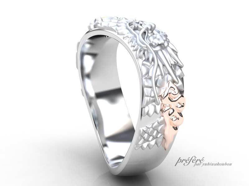 龍モチーフでお創り頂きました結婚指輪のオーダー ピンクゴールド