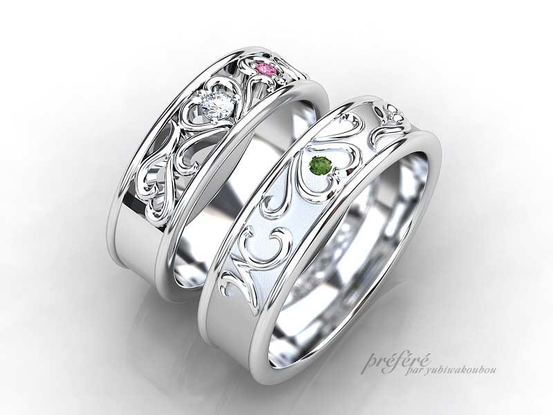 イニシャルと四つ葉のクローバーの結婚指輪はオーダー