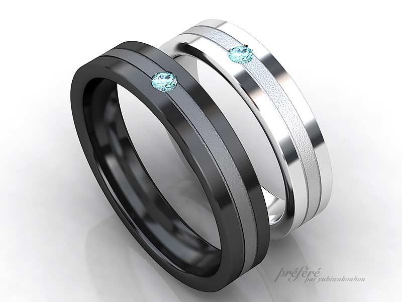 結婚指輪のオーダーはブラックリングにブルーダイヤを留めました