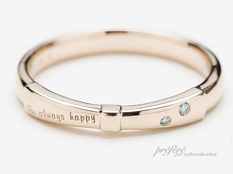ピンクゴールドの結婚指輪はリボンデザインでオーダー