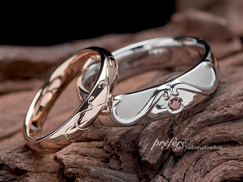 結婚指輪はオーダーでハートになるデザイン