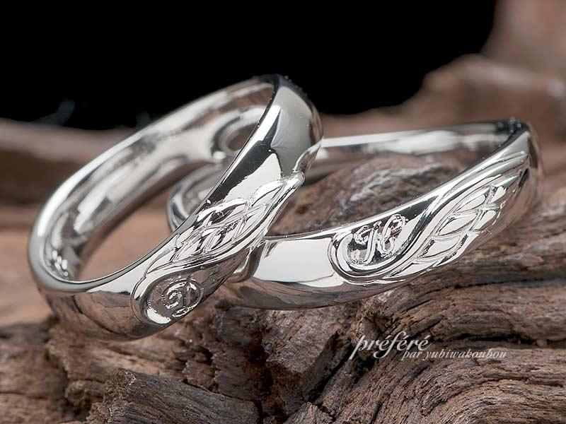 結婚指輪はオーダーで天使の羽モチーフ