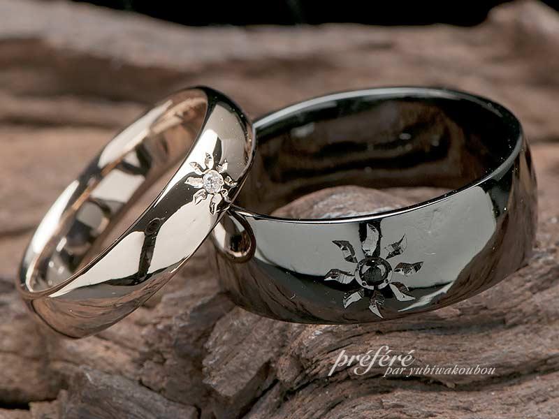 ブラックとピンクゴールドの結婚指輪は太陽モチーフでオーダーメイド