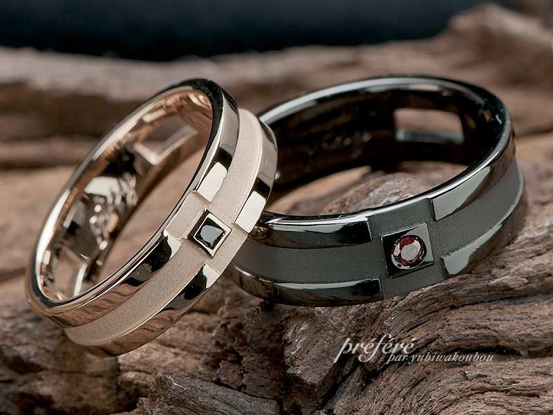 オーダーの結婚指輪はピンクゴールドとブラックリング