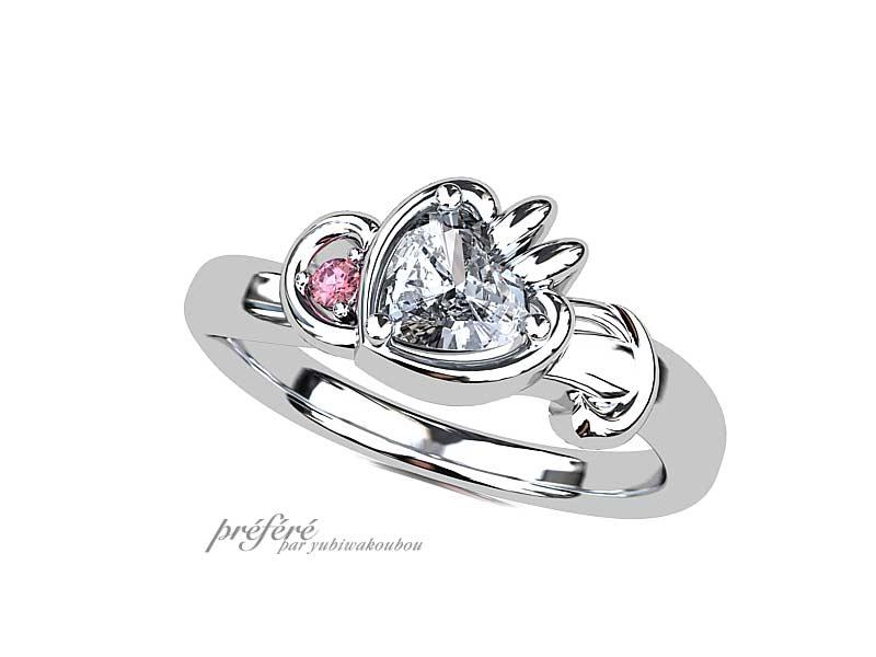 ウサギモチーフの婚約指輪