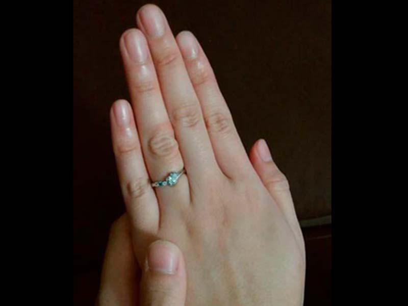 ハートダイヤとくまさんの婚約指輪