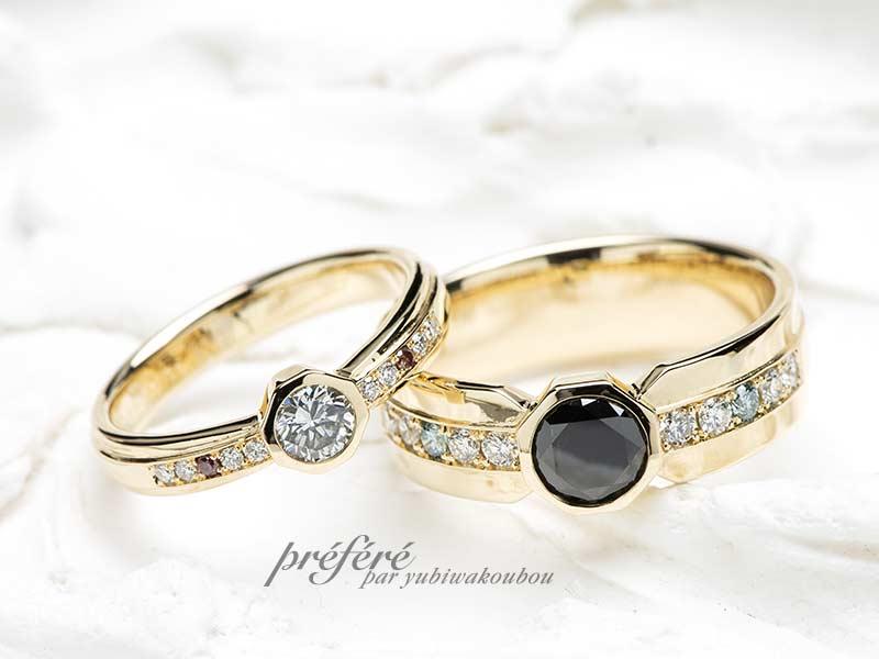 ブラックダイヤと8角形の結婚指輪