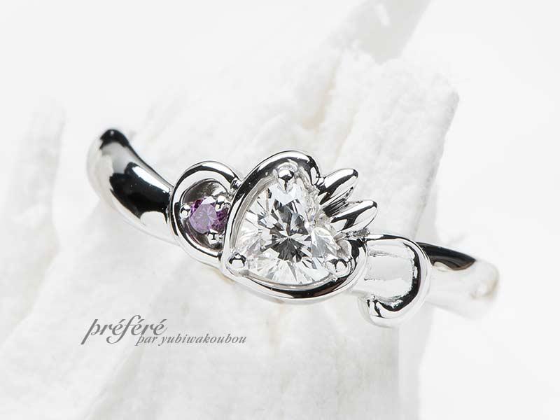 ウサギ&イニシャル&音符モチーフの婚約指輪