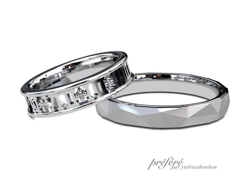 記念日とイニシャルモチーフの結婚指輪