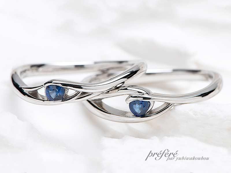 """お二人の誕生石""""ブルーサファイア""""でお創りしたオリジナル結婚指輪"""