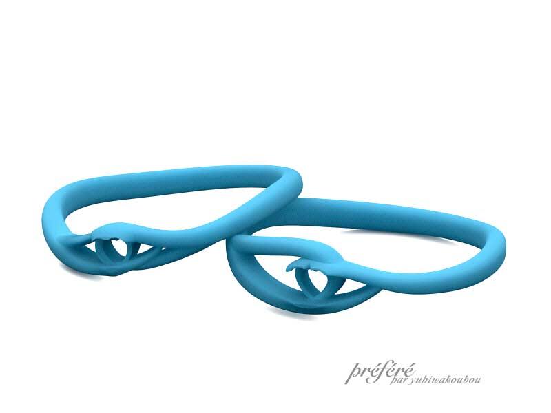 ハート形ブルーサファイアの結婚指輪