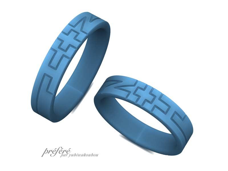 イニシャルの結婚指輪はブラックリングでオーダーメイド