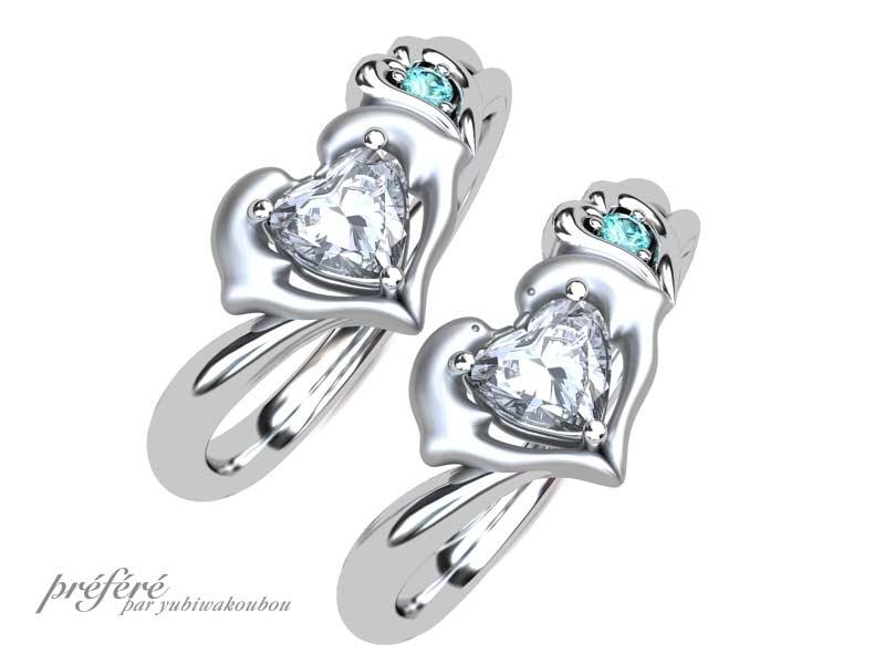 イルカとイニシャルモチーフの婚約指輪