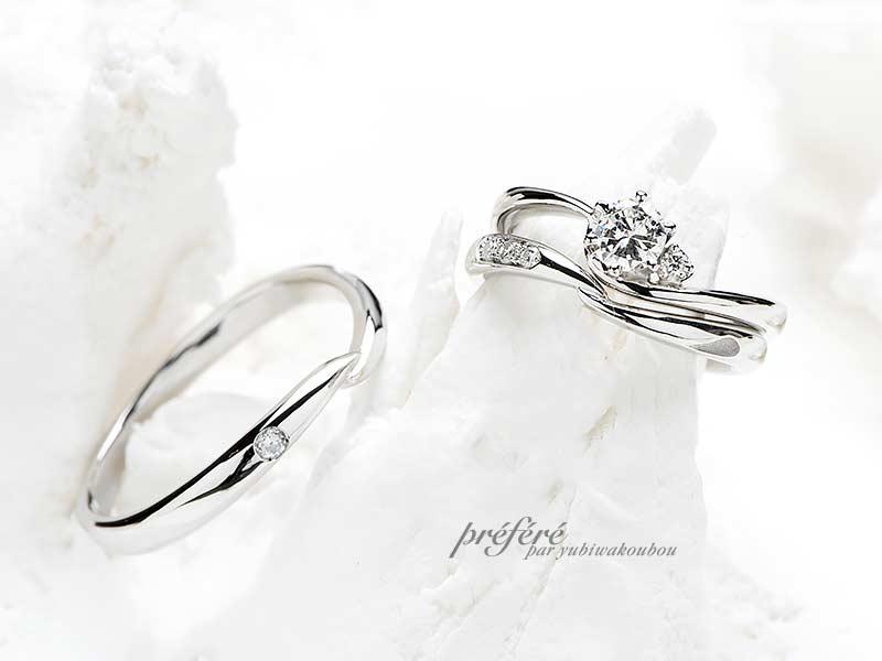 ダイヤリングのリフォームと華奢でシンプルデザインの2つ目の結婚指輪