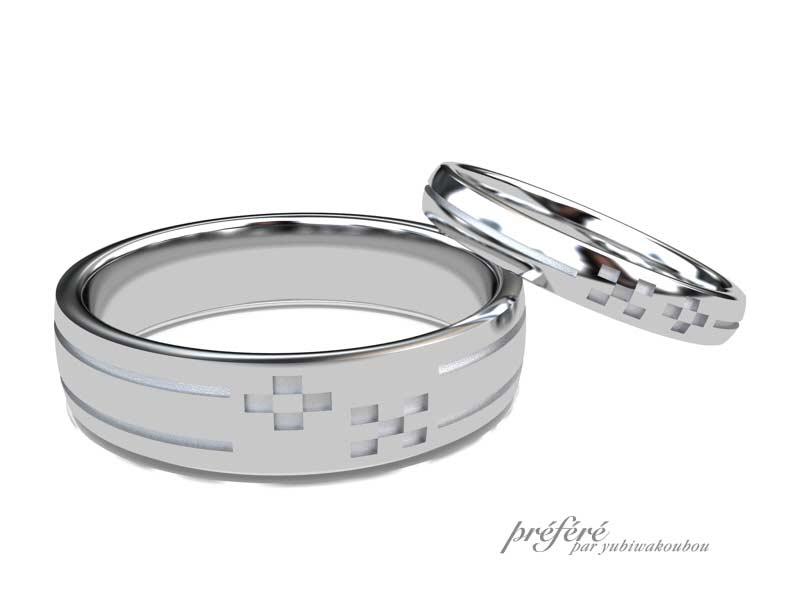 ミンサー柄の結婚指輪イメージCG