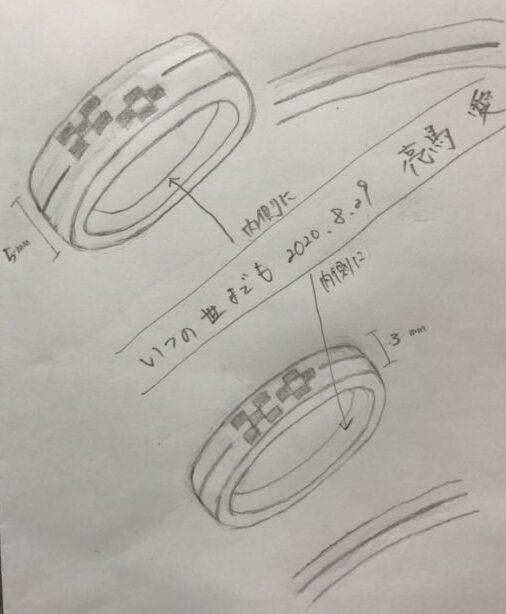 ミンサー柄の結婚指輪のイメージ