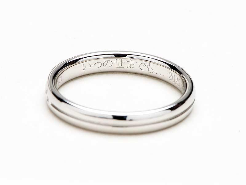 ミンサー柄の結婚指輪のリング内側