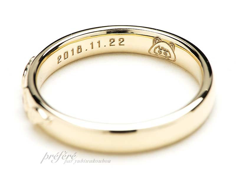 リング内側に想いを詰めた結婚指輪