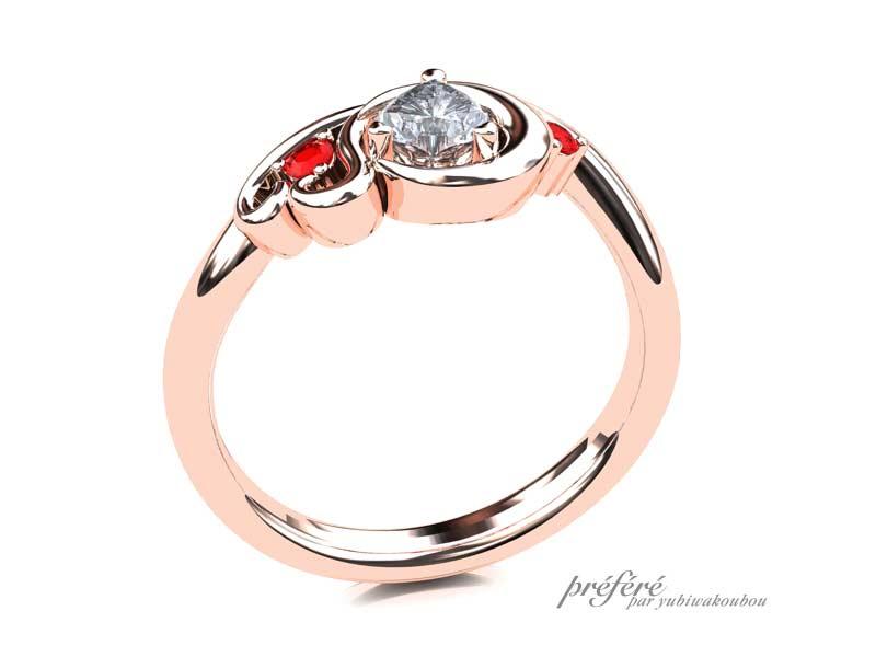 パーソナルカラーの赤をルビーで表現した婚約指輪