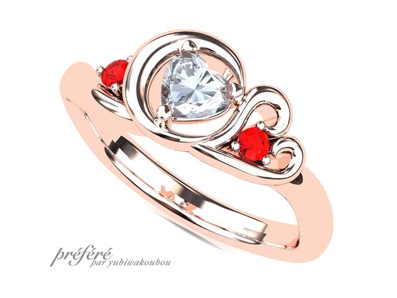二人のイニシャルSMモチーフの婚約指輪