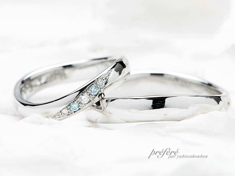 ひねり腕形状の結婚指輪