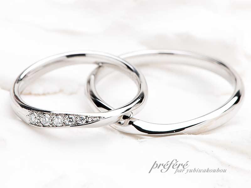 ダイヤモンドを入れたデザインの結婚指輪