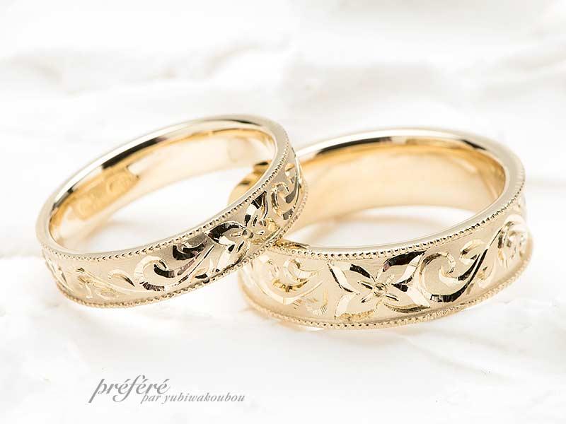 手彫りデザインの結婚指輪