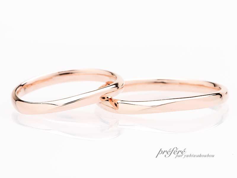 ピンクゴールド素材の結婚指輪