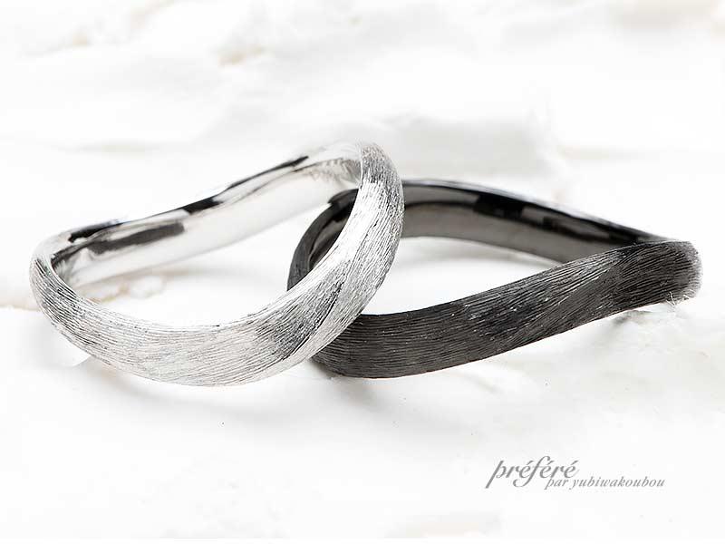 サテン仕上げをした結婚指輪