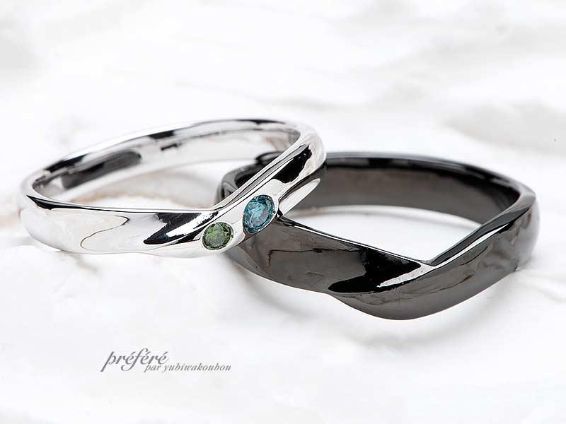 V形状の結婚指輪