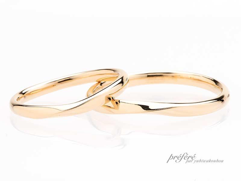 イエローゴールド素材の結婚指輪
