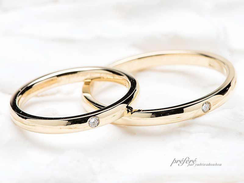 シンプルなストレートデザインの結婚指輪