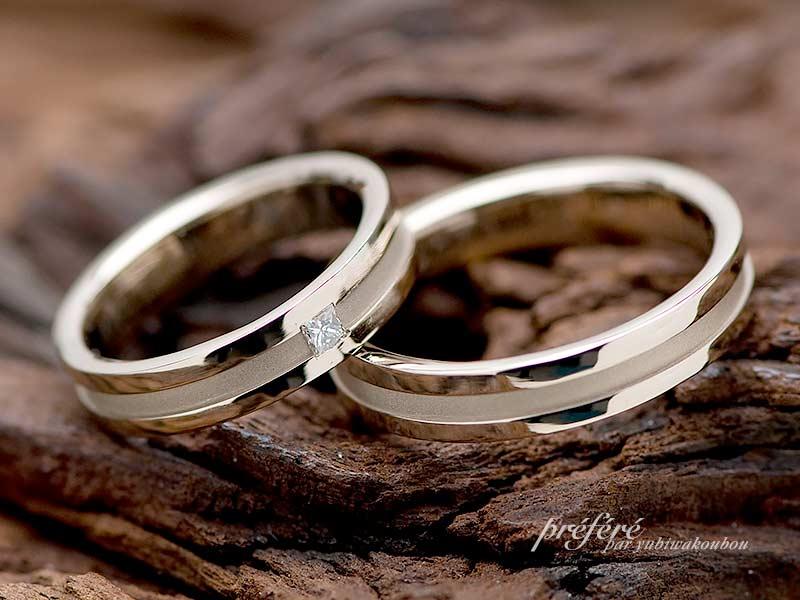 シャンパンゴールド素材の結婚指輪