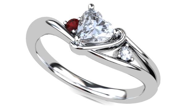 ハートシェイプカットの指輪のイメージCG画像