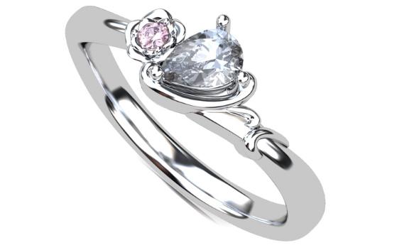 ペアシェイプカットの指輪のイメージCG画像