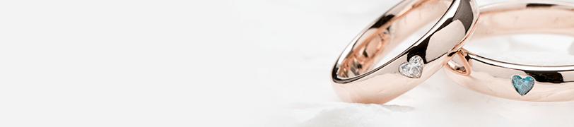 ピンクゴールドの結婚指輪の画像