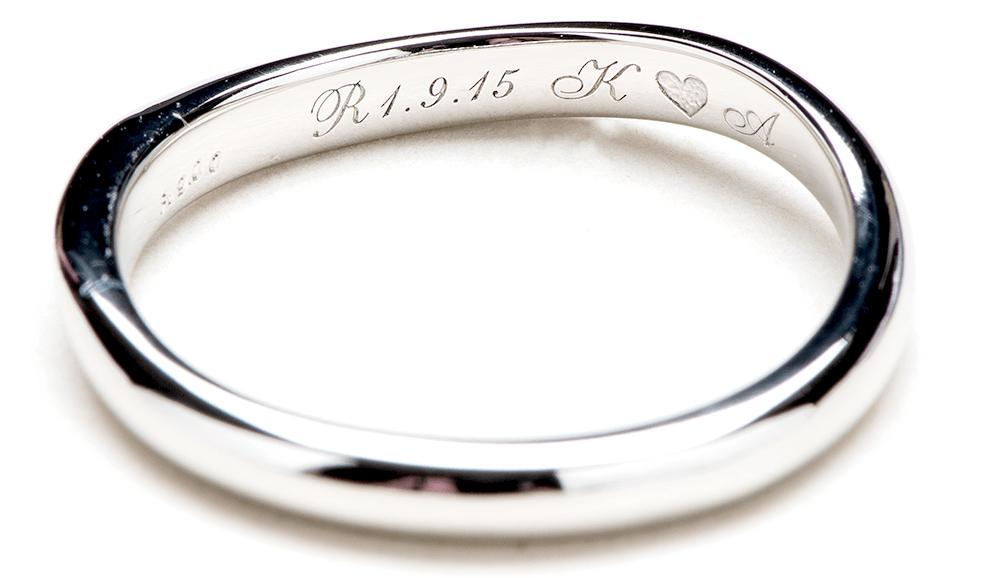 結婚指輪の内側にレーザー彫り