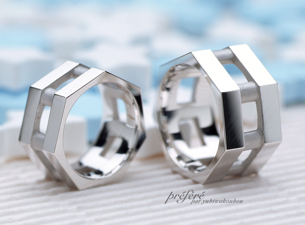 7角形のオーダーメイドのマリッジリング(結婚指輪)