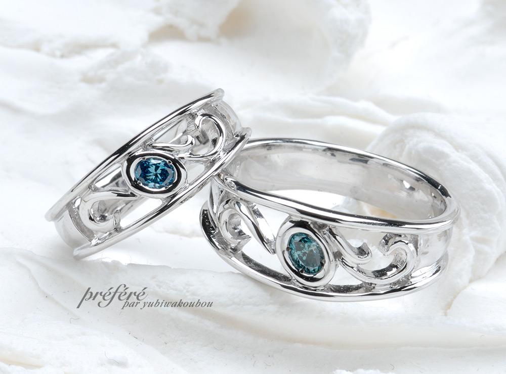 オーバルダイヤを配置したイニシャルモチーフの結婚指輪オーダー